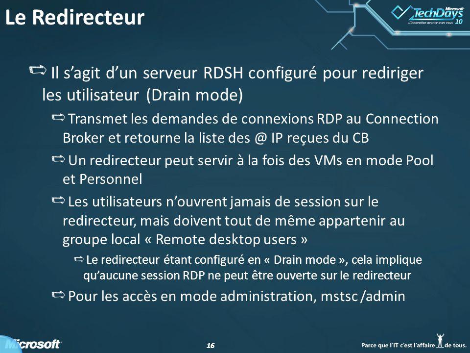 Le Redirecteur Il s'agit d'un serveur RDSH configuré pour rediriger les utilisateur (Drain mode)