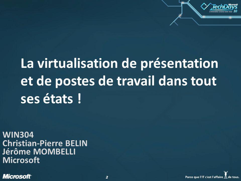 WIN304 Christian-Pierre BELIN Jérôme MOMBELLI Microsoft