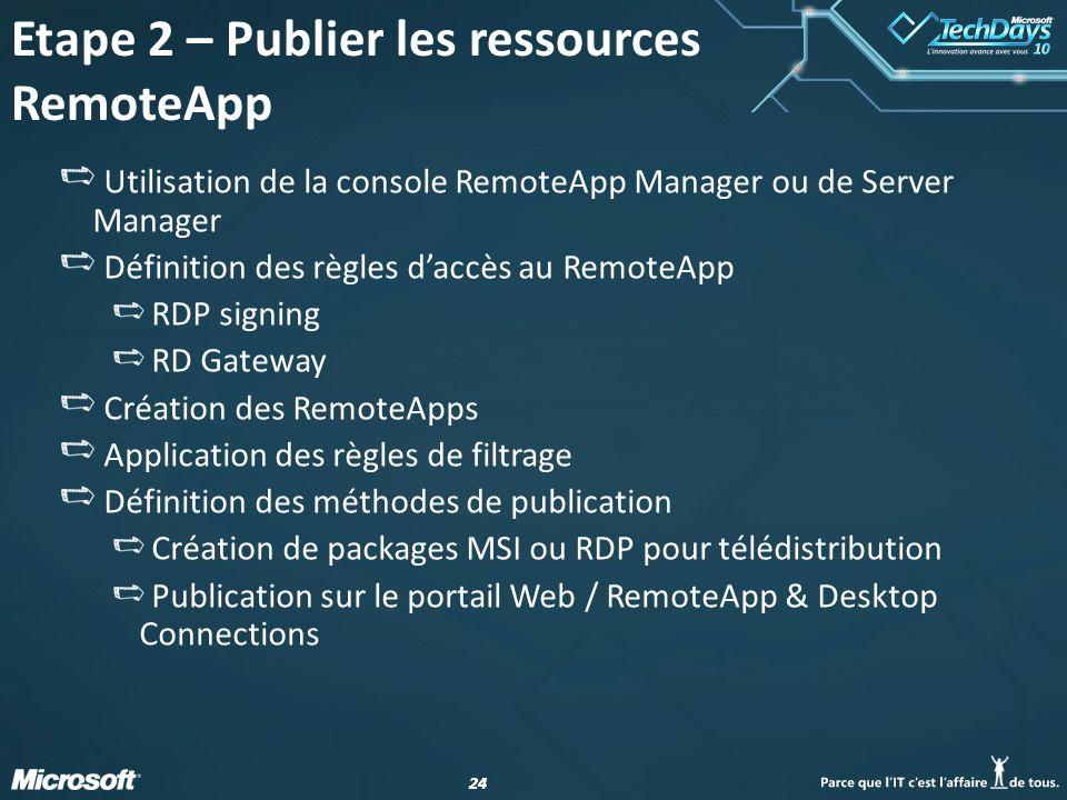 Etape 2 – Publier les ressources RemoteApp