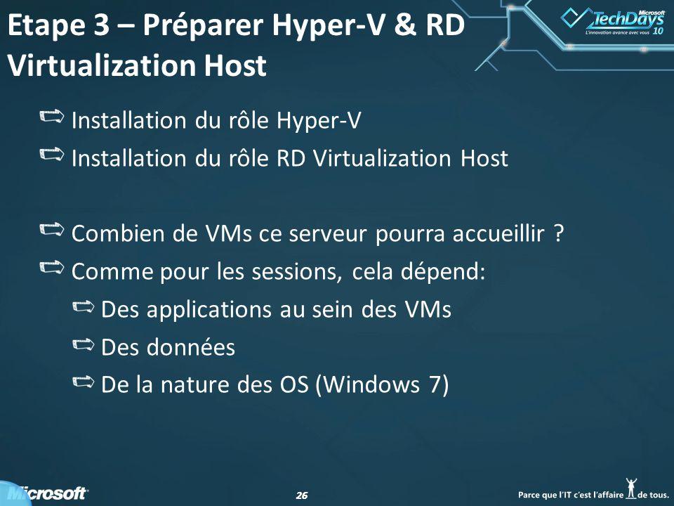 Etape 3 – Préparer Hyper-V & RD Virtualization Host