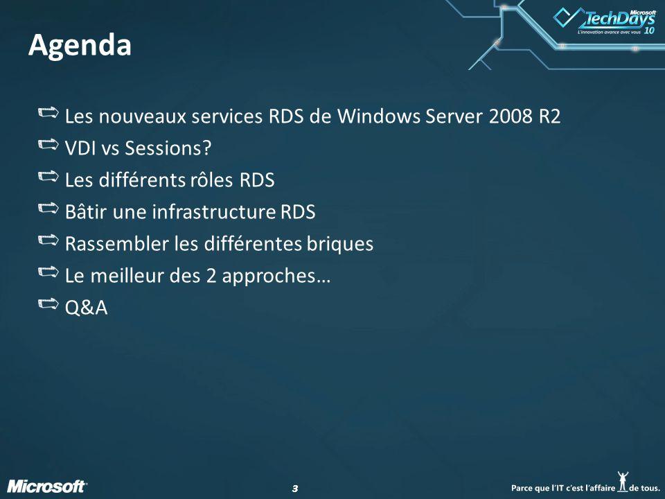 Agenda Les nouveaux services RDS de Windows Server 2008 R2