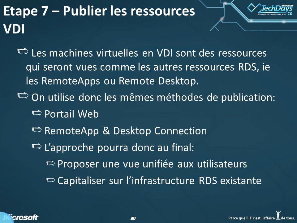Etape 7 – Publier les ressources VDI