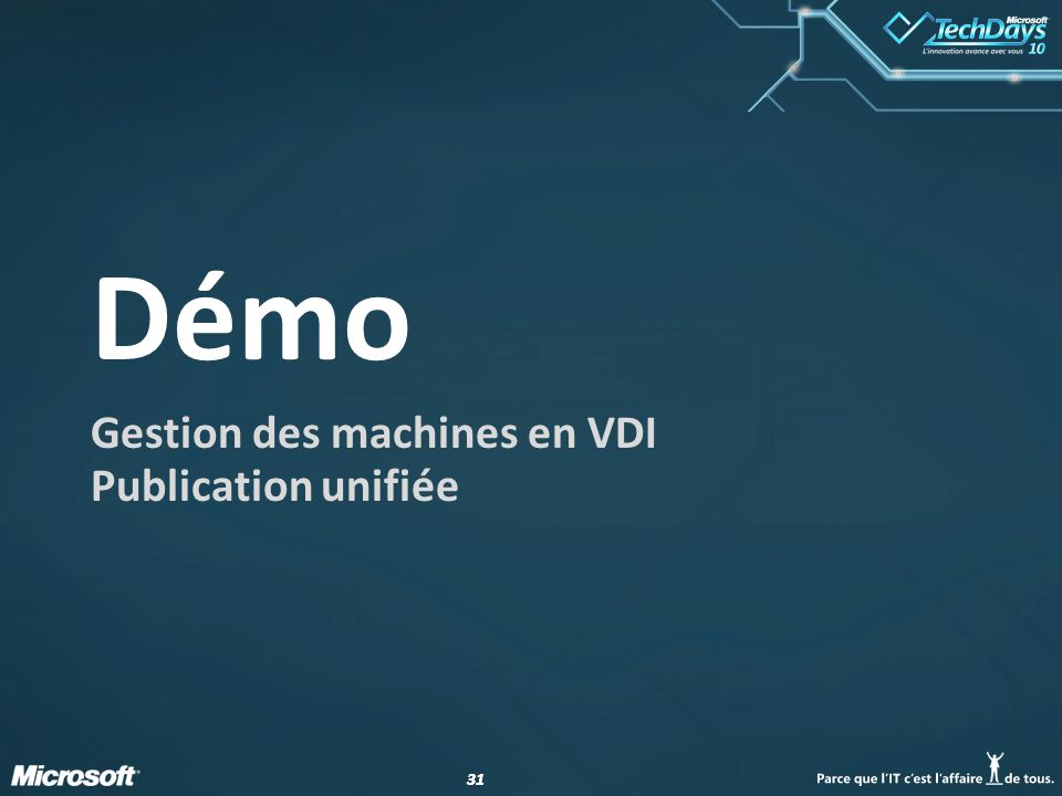 Gestion des machines en VDI Publication unifiée