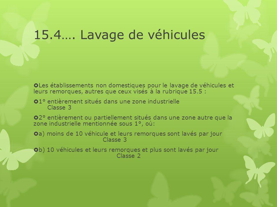 15.4…. Lavage de véhicules