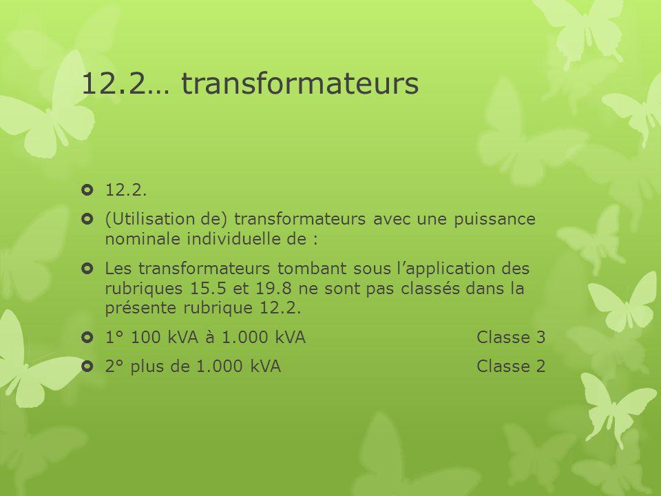12.2… transformateurs 12.2. (Utilisation de) transformateurs avec une puissance nominale individuelle de :