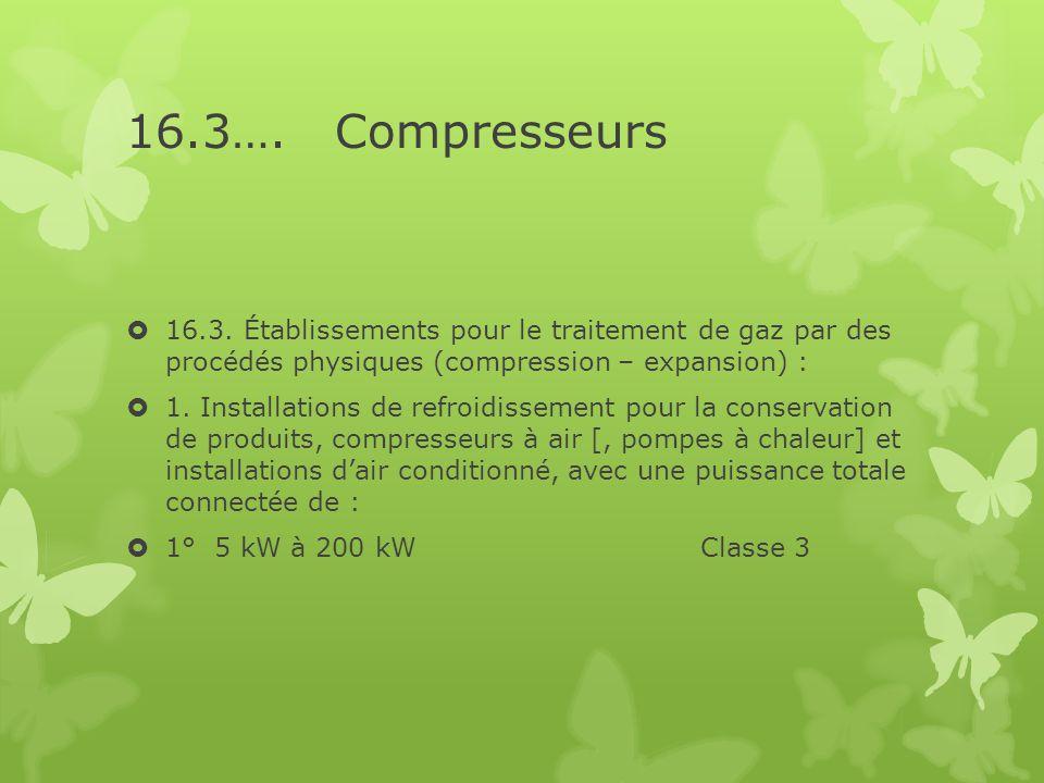 16.3…. Compresseurs 16.3. Établissements pour le traitement de gaz par des procédés physiques (compression – expansion) :