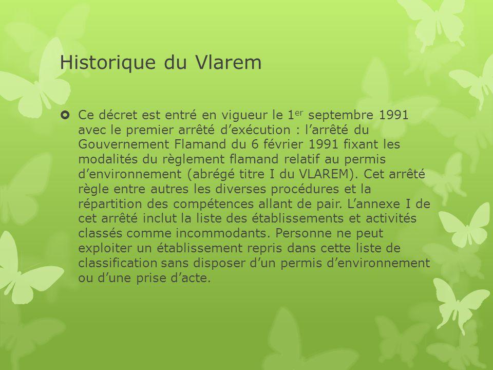 Historique du Vlarem