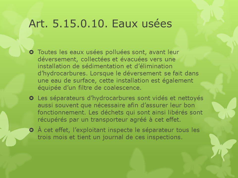 Art. 5.15.0.10. Eaux usées