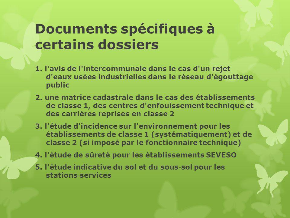 Documents spécifiques à certains dossiers