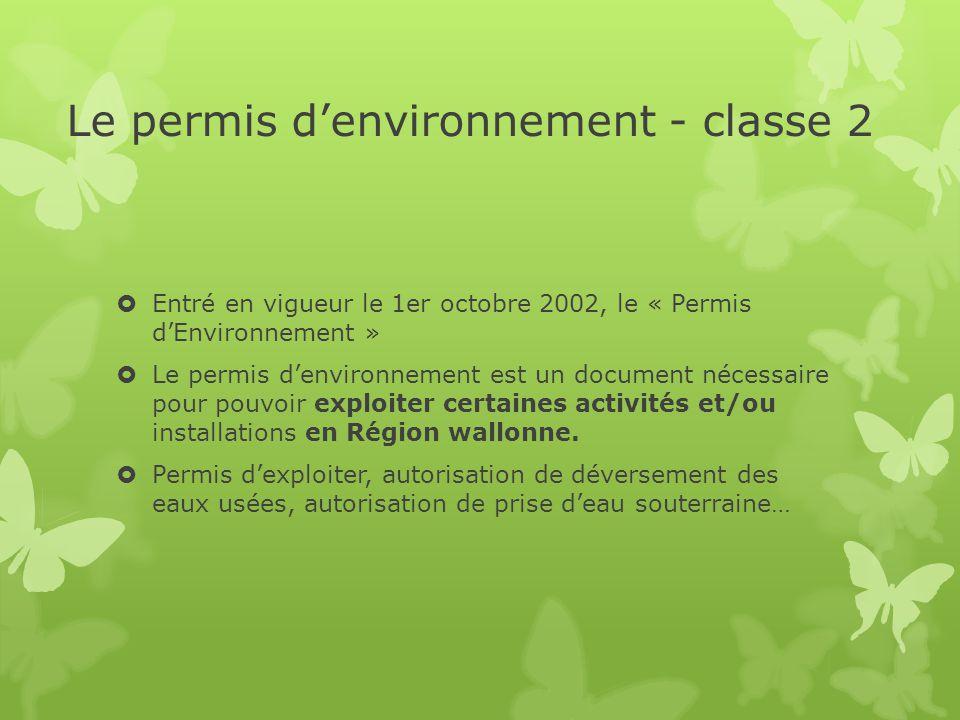 Le permis d'environnement - classe 2