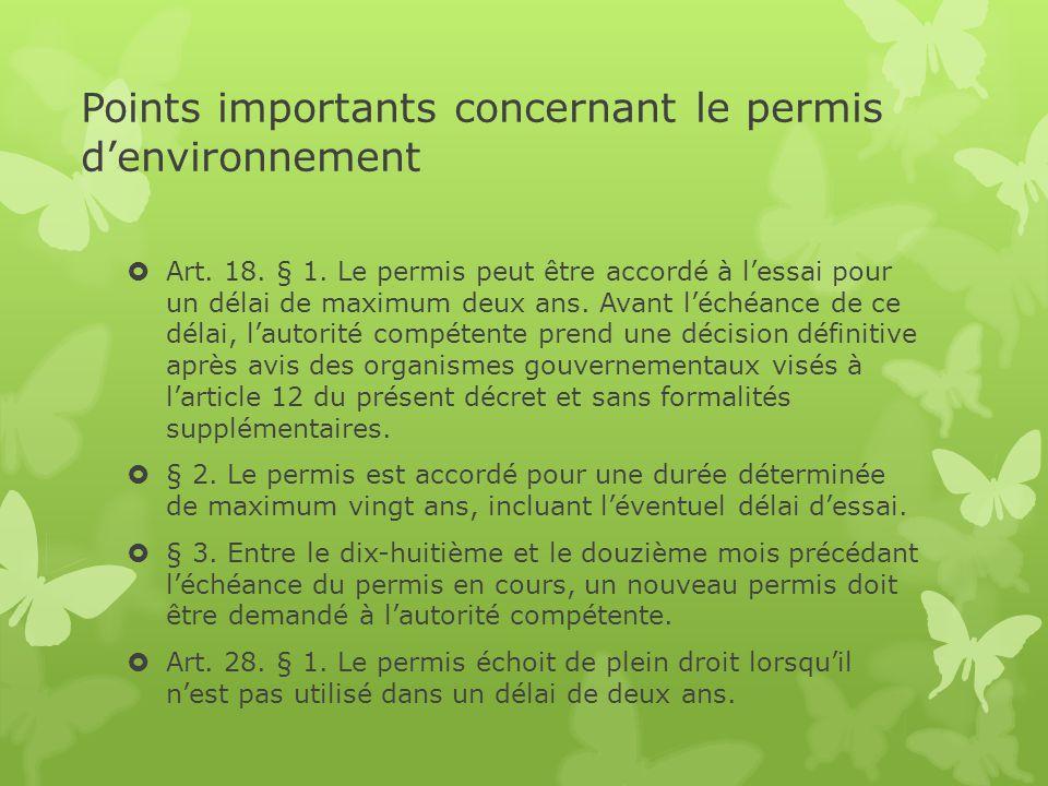 Points importants concernant le permis d'environnement