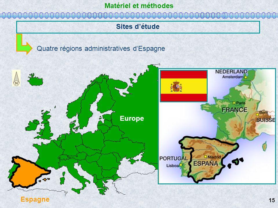 Matériel et méthodes Sites d'étude Espagne