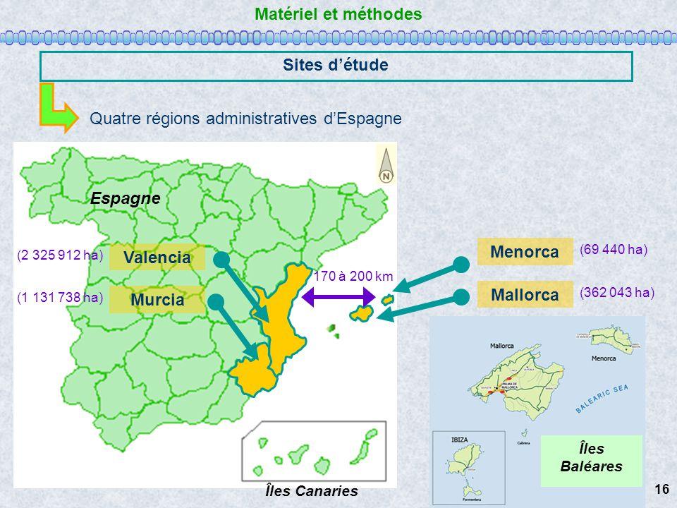 Matériel et méthodes Sites d'étude Mallorca Menorca Valencia Murcia