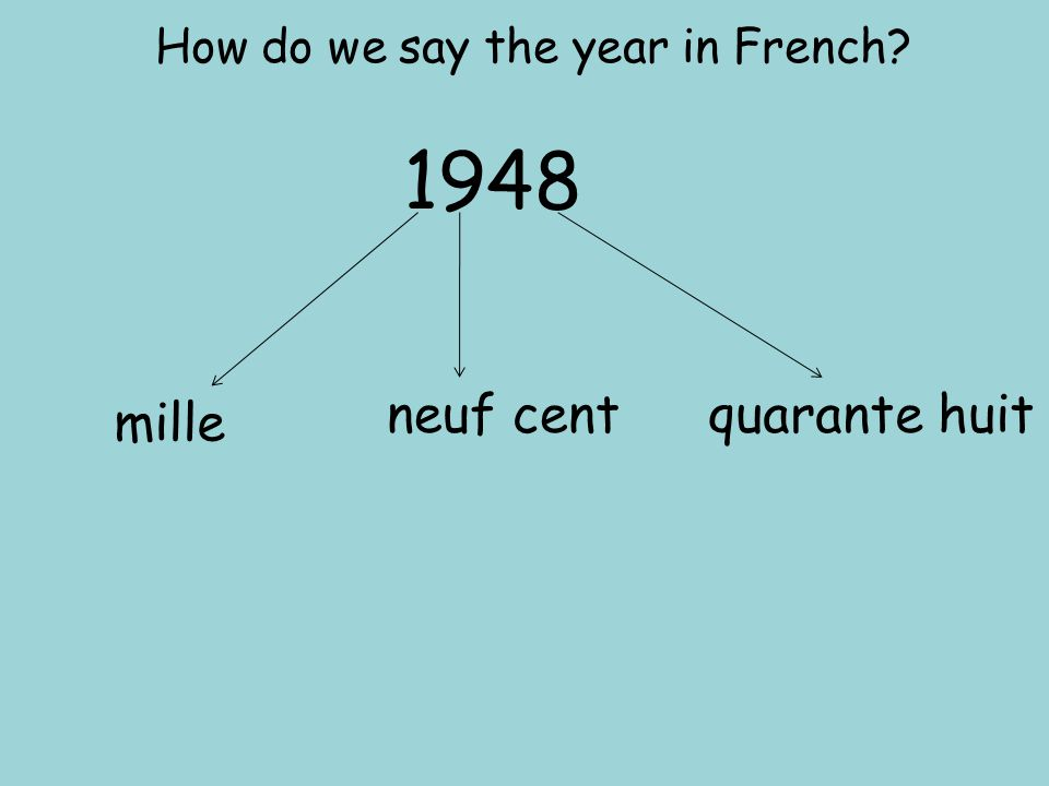 How do we say the year in French