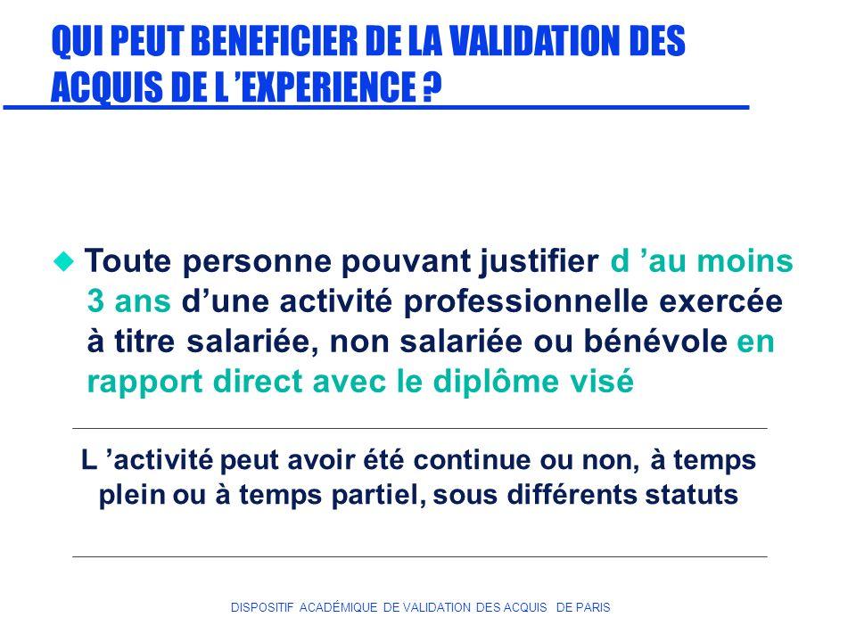 QUI PEUT BENEFICIER DE LA VALIDATION DES ACQUIS DE L 'EXPERIENCE