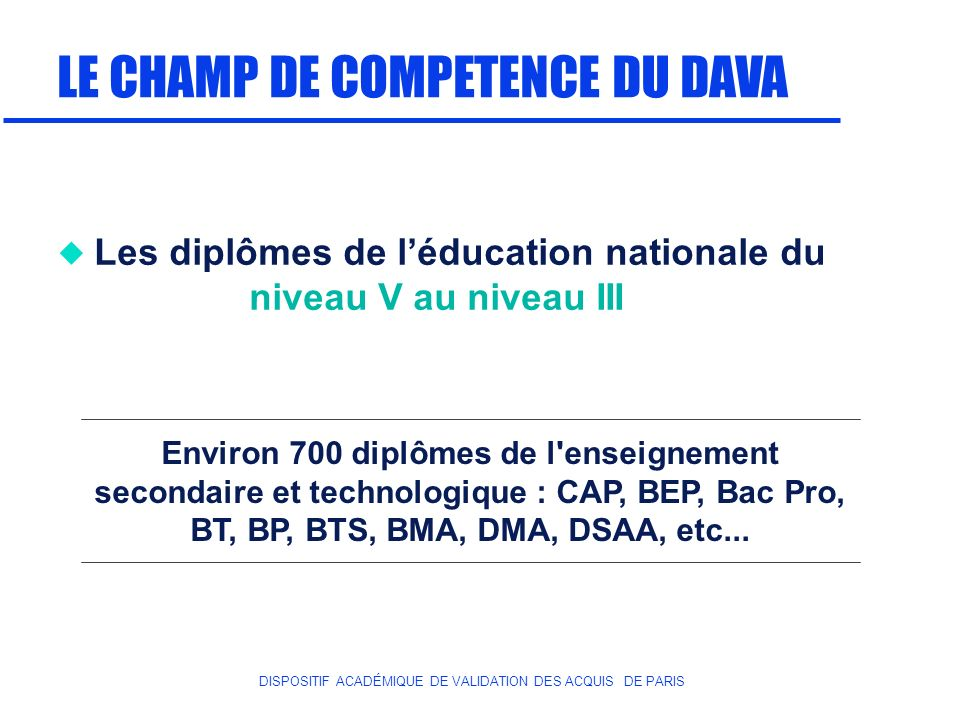 LE CHAMP DE COMPETENCE DU DAVA