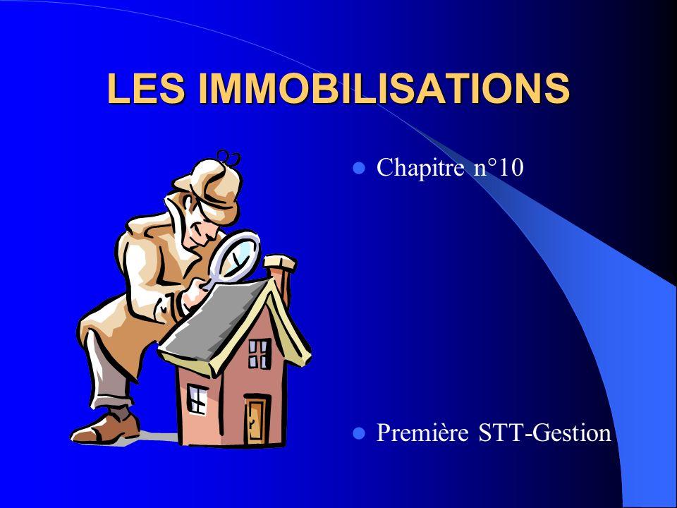 LES IMMOBILISATIONS Chapitre n°10 Première STT-Gestion