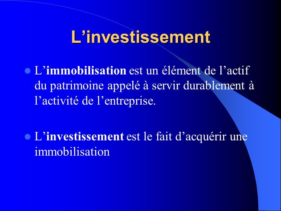 L'investissement L'immobilisation est un élément de l'actif du patrimoine appelé à servir durablement à l'activité de l'entreprise.