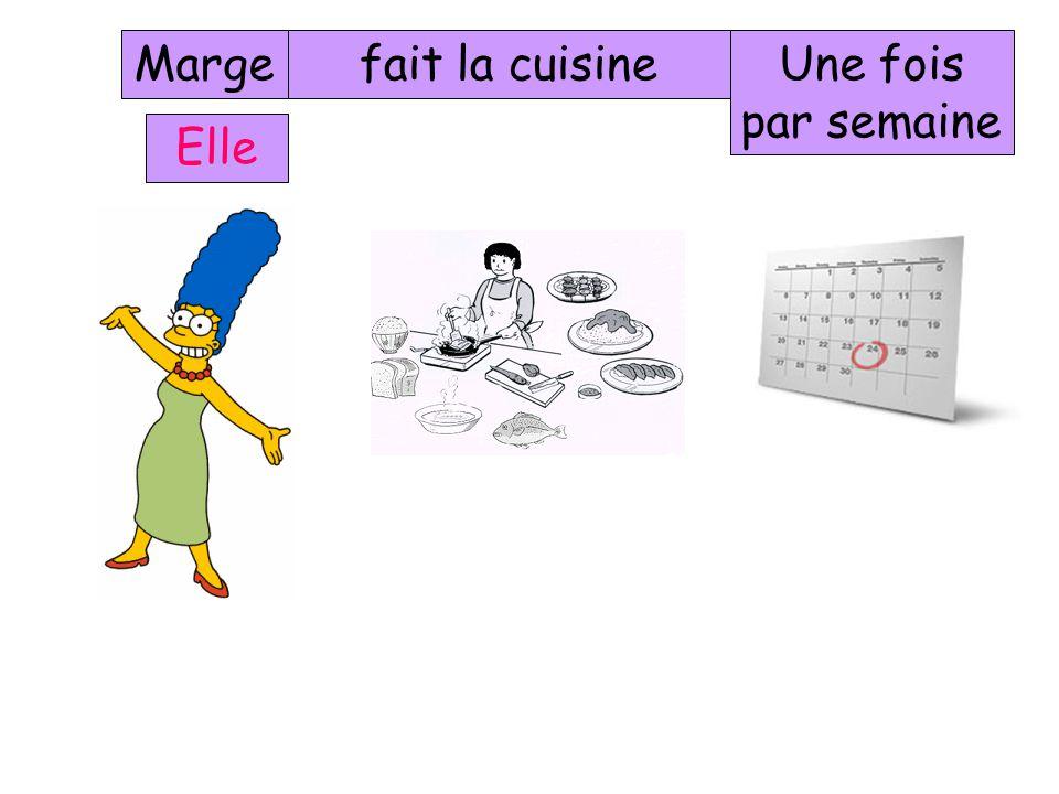 Marge fait la cuisine Une fois par semaine Elle