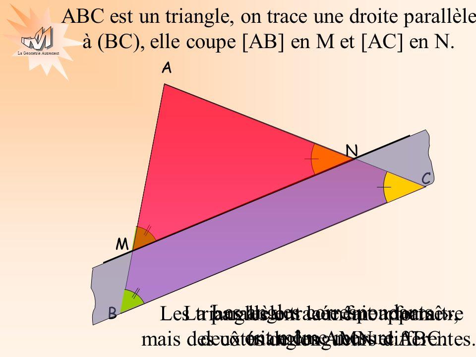 La parallèle tracée fait apparaître deux triangles AMN et ABC.
