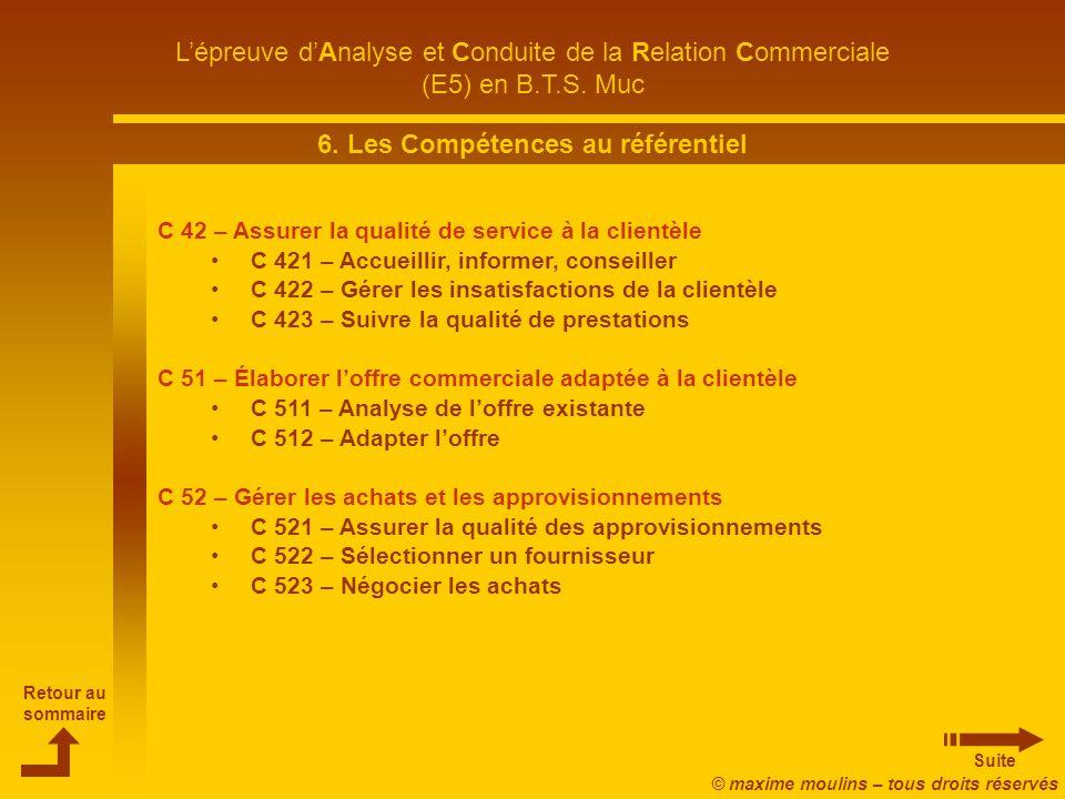 6. Les Compétences au référentiel