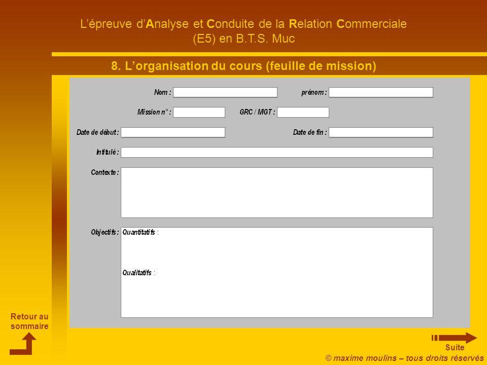 8. L'organisation du cours (feuille de mission)