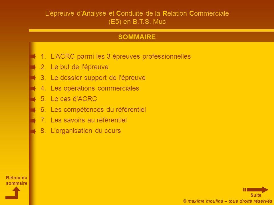 SOMMAIRE L'ACRC parmi les 3 épreuves professionnelles. Le but de l'épreuve. Le dossier support de l'épreuve.