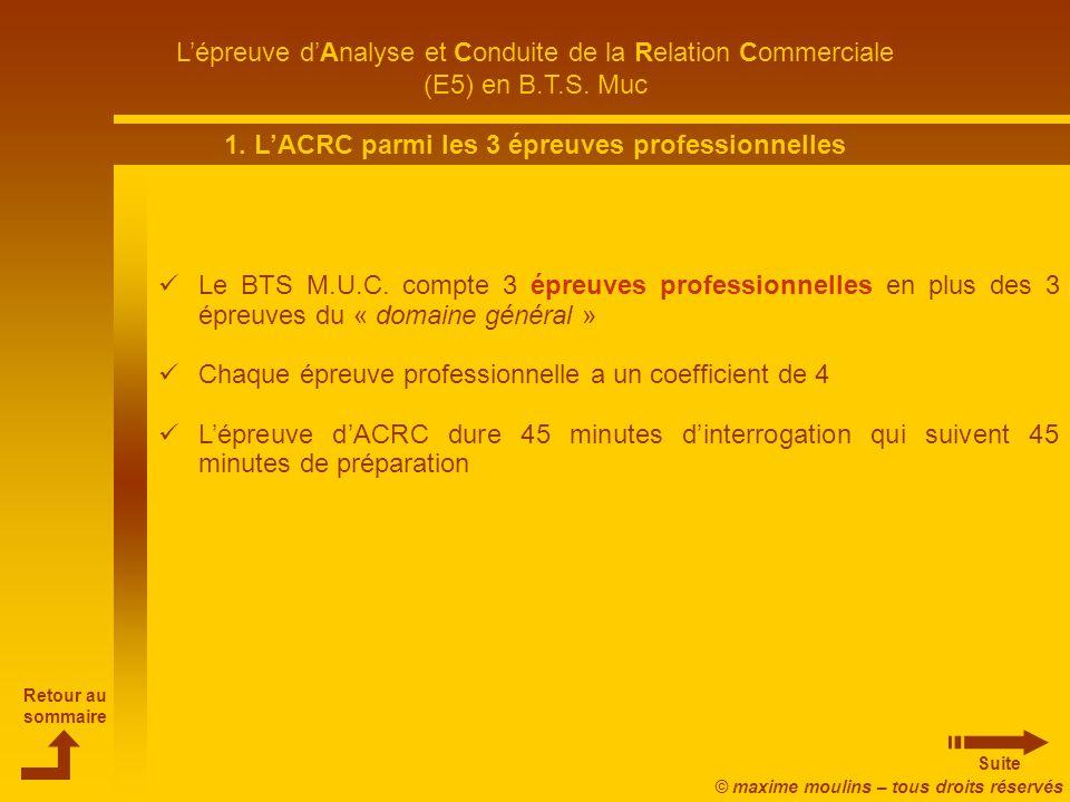 1. L'ACRC parmi les 3 épreuves professionnelles