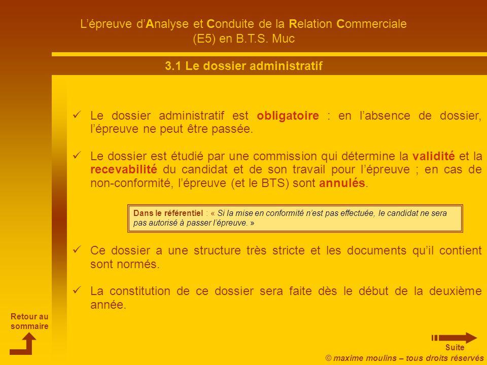 3.1 Le dossier administratif