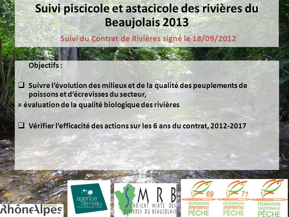 Suivi piscicole et astacicole des rivières du Beaujolais 2013 Suivi du Contrat de Rivières signé le 18/09/2012