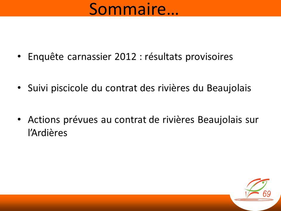 Sommaire… Enquête carnassier 2012 : résultats provisoires