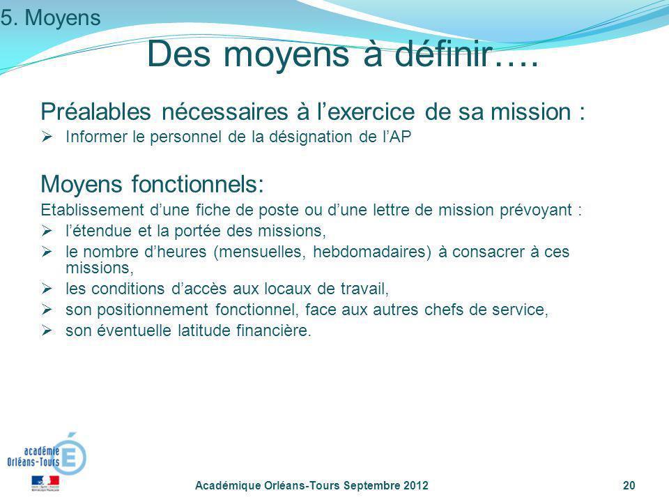 5. Moyens Des moyens à définir…. Préalables nécessaires à l'exercice de sa mission : Informer le personnel de la désignation de l'AP.