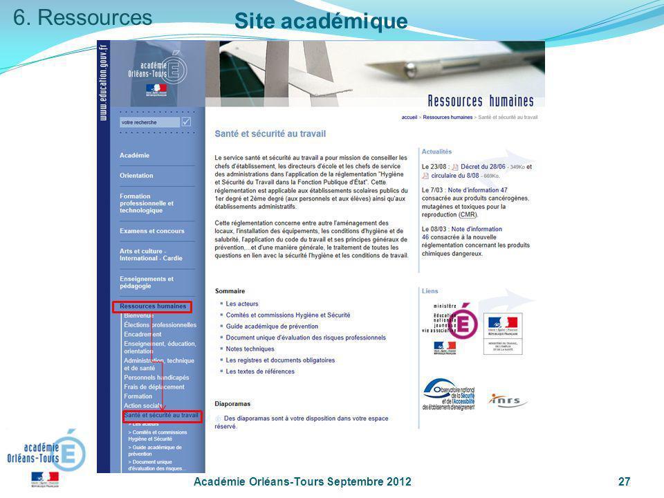 6. Ressources Site académique Académie Orléans-Tours Septembre 2012