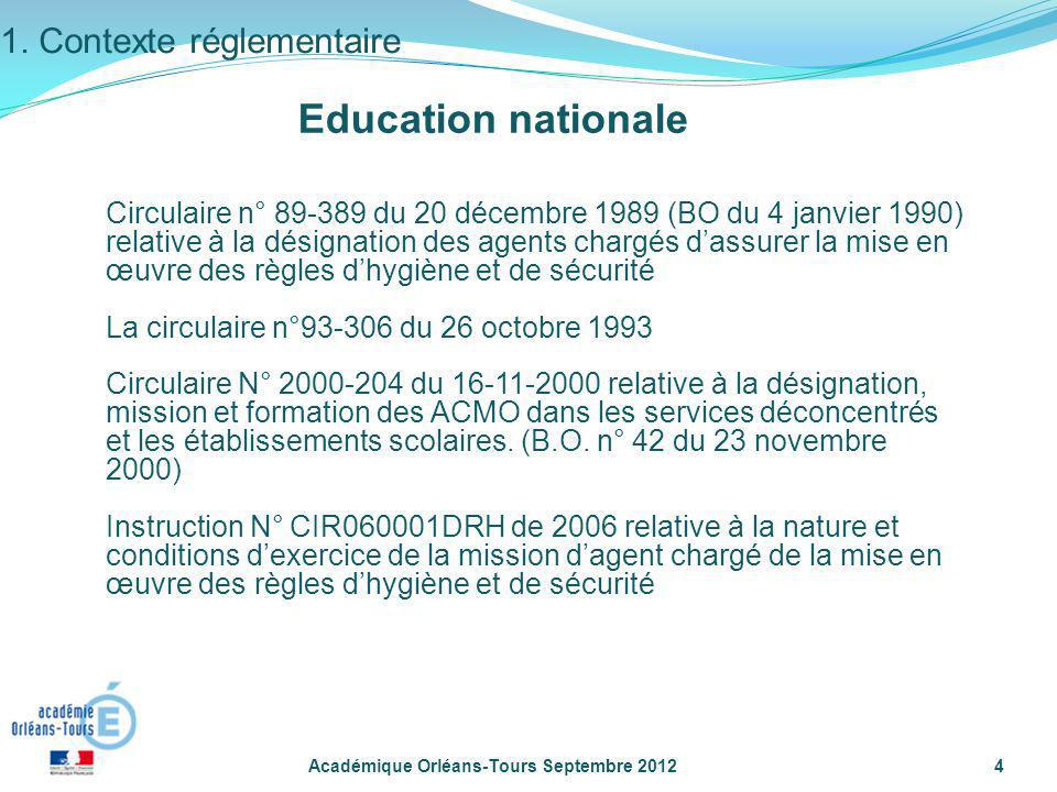 Education nationale 1. Contexte réglementaire