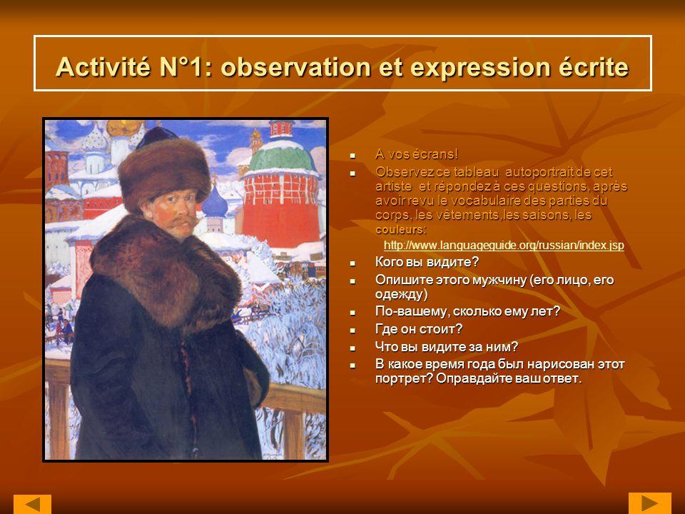 Activité N°1: observation et expression écrite