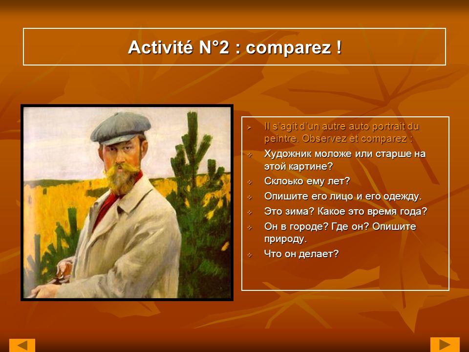 Activité N°2 : comparez ! Il s'agit d'un autre auto portrait du peintre. Observez et comparez : Художник моложе или старше на этой картине
