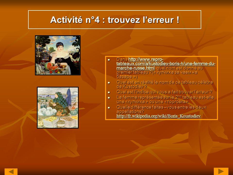 Activité n°4 : trouvez l'erreur !