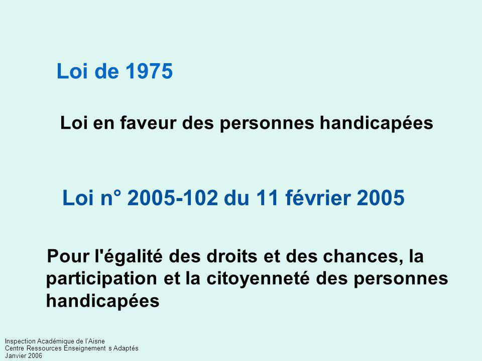 Loi de 1975 Loi n° 2005-102 du 11 février 2005