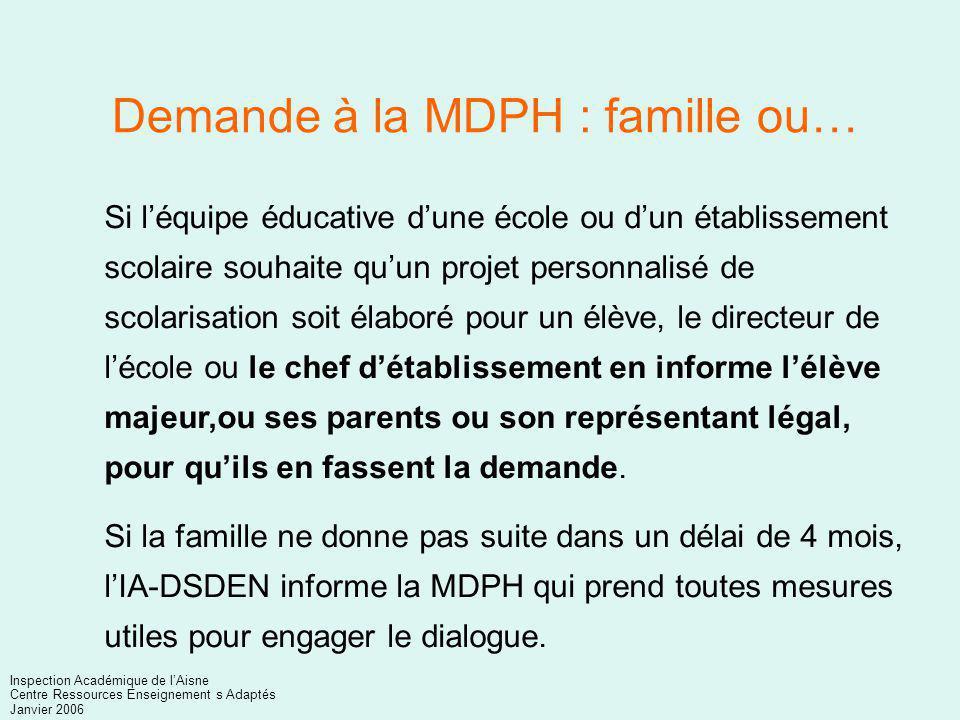 Demande à la MDPH : famille ou…