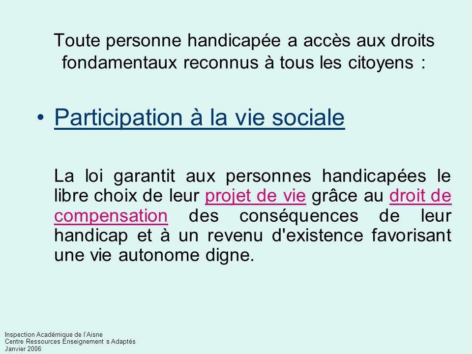 Participation à la vie sociale
