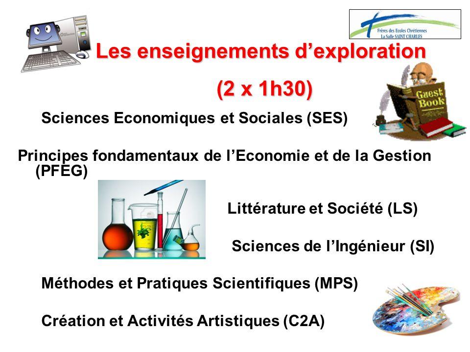 Les enseignements d'exploration (2 x 1h30)