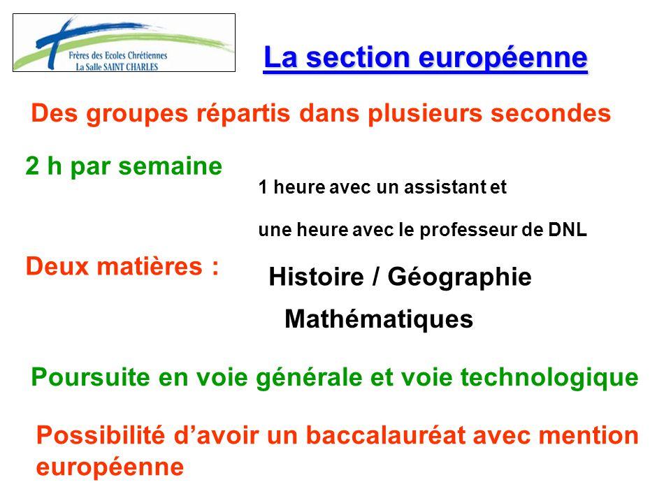 La section européenne Des groupes répartis dans plusieurs secondes