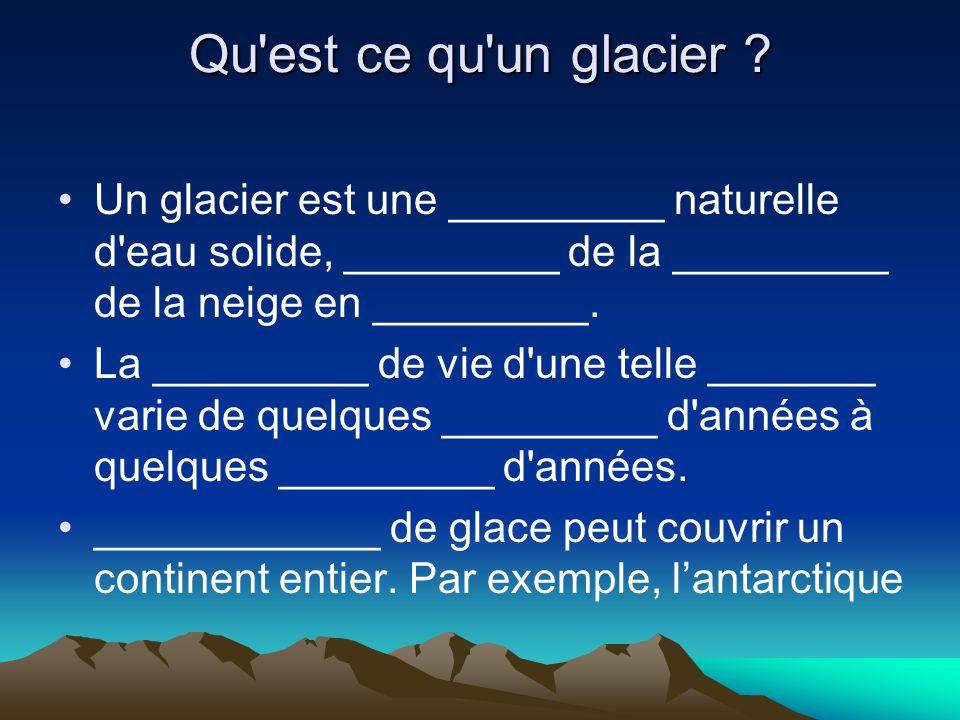 Qu est ce qu un glacier Un glacier est une _________ naturelle d eau solide, _________ de la _________ de la neige en _________.