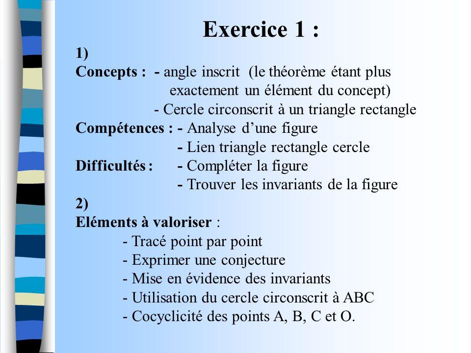 Exercice 1 : 1) Concepts : - angle inscrit (le théorème étant plus