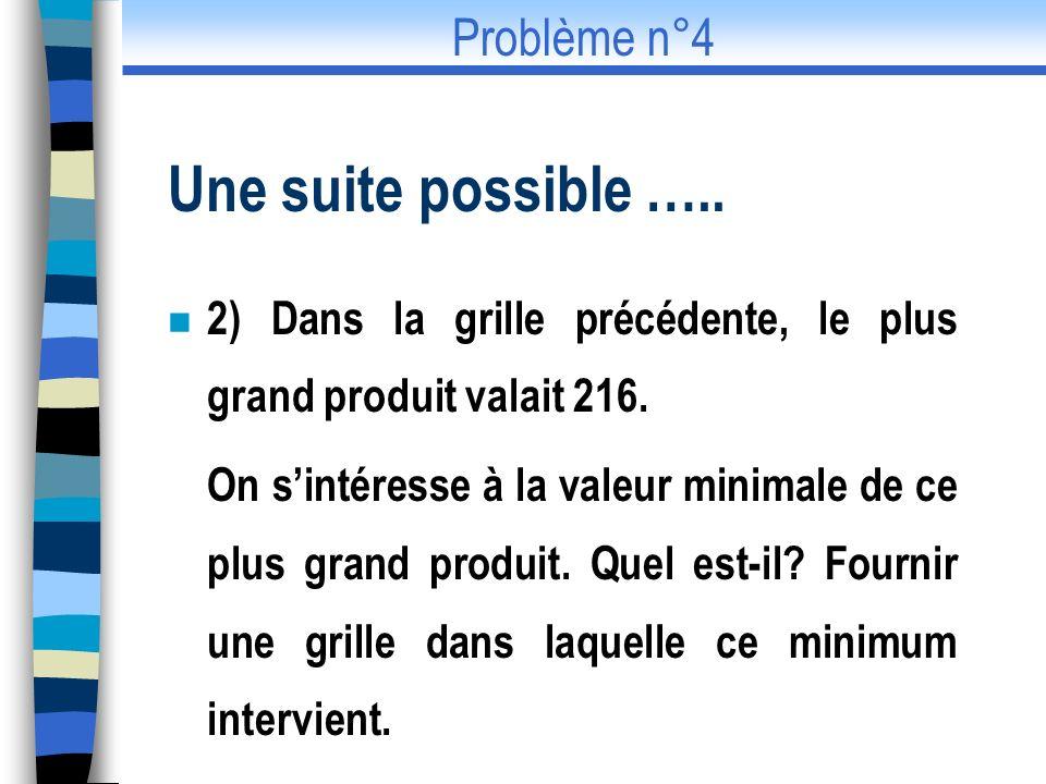 Une suite possible ….. Problème n°4