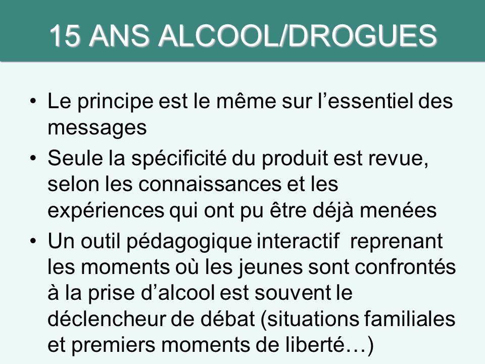 15 ANS ALCOOL/DROGUES Le principe est le même sur l'essentiel des messages.
