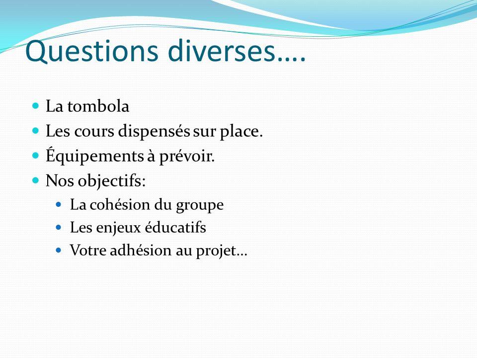 Questions diverses…. La tombola Les cours dispensés sur place.