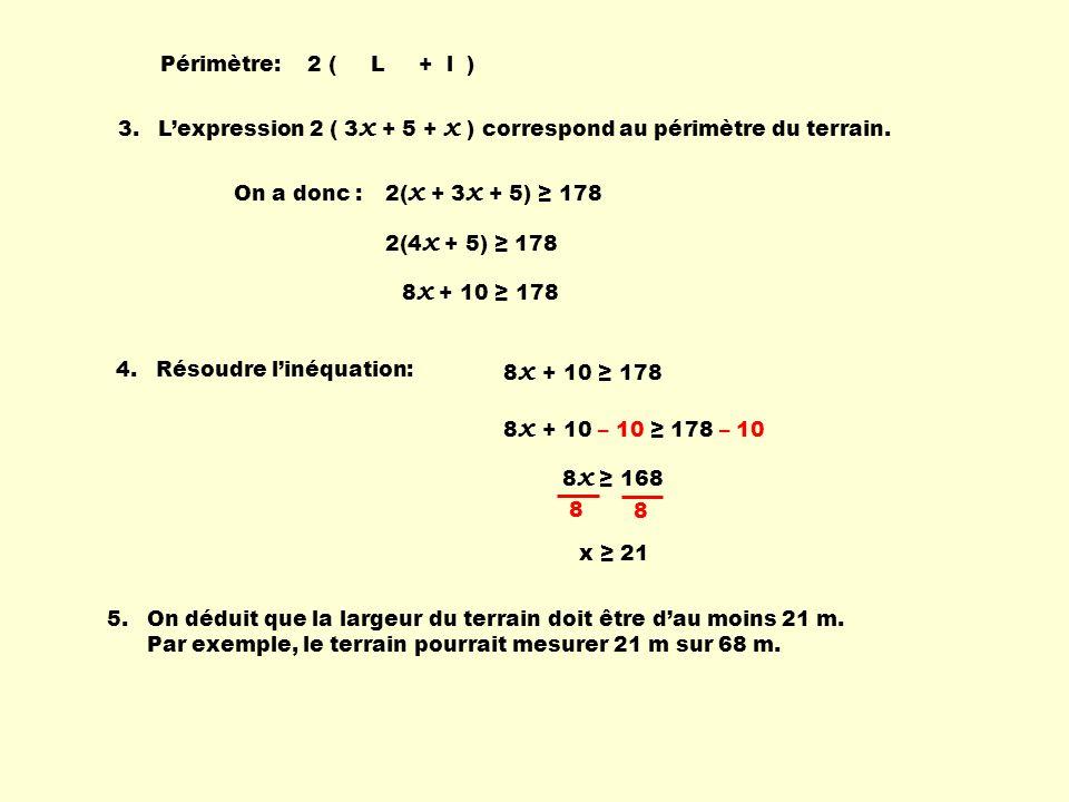 Périmètre: 2 ( L + l ) 3. L'expression 2 ( 3x + 5 + x ) correspond au périmètre du terrain.
