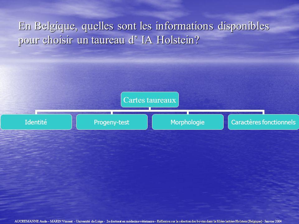En Belgique, quelles sont les informations disponibles pour choisir un taureau d' IA Holstein