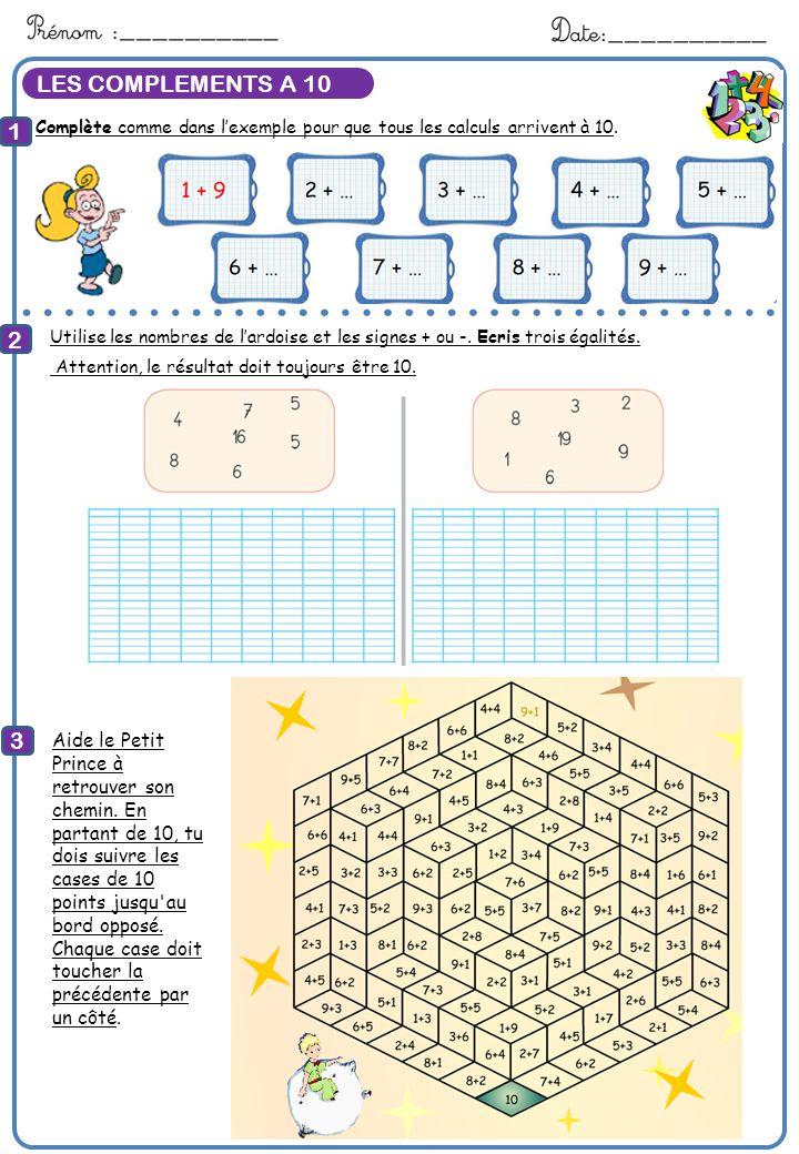 Calcule LES COMPLEMENTS A 10 1 2 3